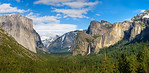 """Tunnel View Panorama in Spring"" Views of Half Dome, El Capitain, Half Dome and Bridalveil Falls can all be seen from the Tunnel View lookout in Yosemite. One of my favorite places to go - I never get tired of it! The view looks totally different at each time of the day. Add in different weather with clouds, fog, snow and sunlight, you get an infinite amount of combinations for Yosemite National Park. The work that the Yosemite Conservancy has done to restore the view to how it looked a hundred years ago has recaptured the natural beauty of Yosemite! Just another place I want to be in California - Yosemite National Park."