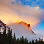 "Clearing Storm on El Capitan at Sunset.  We almost were headed to the bar with cloudy and rainy skies when I was up for the Yosemite Renaissance Gallery reception. I talked my friend into driving through the park ""just in case!"" Sure enough, one blue spot lead to another and THIS was in front of us! (Michael Frye has a blogpost titled ""The One That Got Away"") - I am sure lucky that I was there and able to get this one!  Maybe my blog-post should be ""The One That ALMOST got Away!"""
