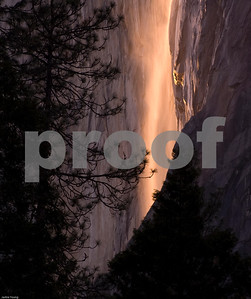 """Yosemite Falls Firefall"".  This color of the sun rays hitting the falls only happens 2-3 days per year, if the skies are clear."
