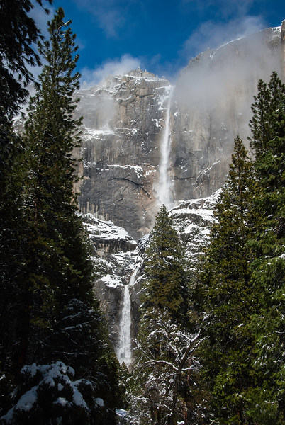 Yosemite Falls as the mist clears