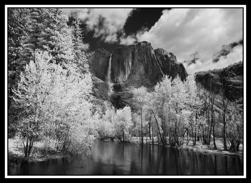 Yosemite Falls with Merced River in foreground. Shot from Swinging Bridge in infrared.