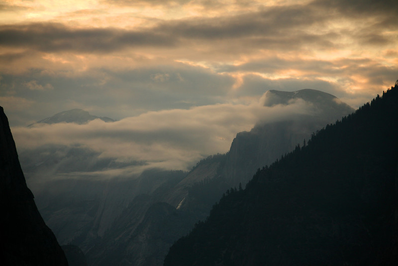 Half Dome Shrouded In Clouds - Yosemite National Park