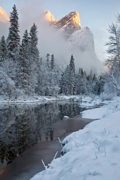 3 Brothers reflected in the Merced River, Feb. 2012, Yosemite National Park