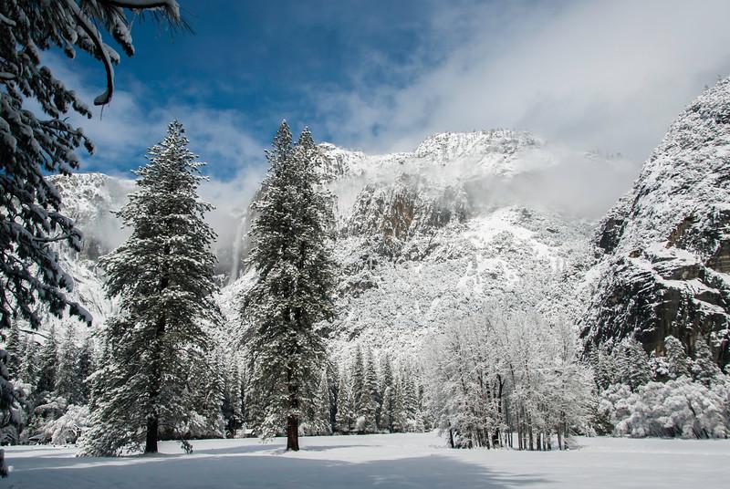 Upper Yosemite Falls in mist