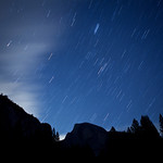"""""""Star Trails over Half Dome"""" After a full day of shooting we decided to take advantage of the dark skies and shoot stars! There is nothing better than standing in a meadow in Yosemite in complete darkness with the stars above! This is 2 images taken at 4 minutes each combined."""