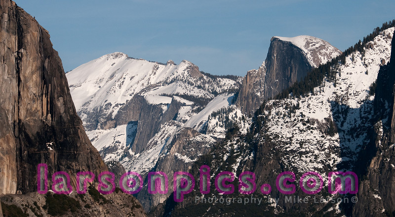 El Capitan (on left) and Half Dome.  Good example of lens compression.