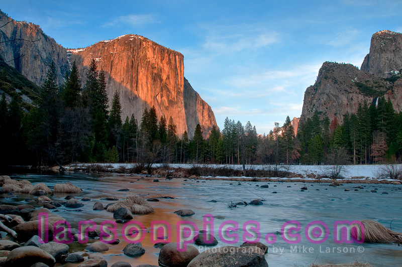 Late afternoon sun side lighting El Capitan at Valley View