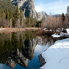 Three Brothers and reflection in the Merced River
