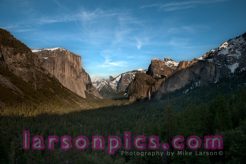 Afternoon light illuminating Bridalveil Falls taken from Tunnel View.  Wispy Clouds.