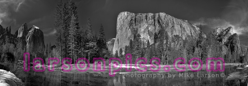 Panoramic B & W photo of Cathedral Rocks, El Capitan and Three Brothers taken from the Merced River.