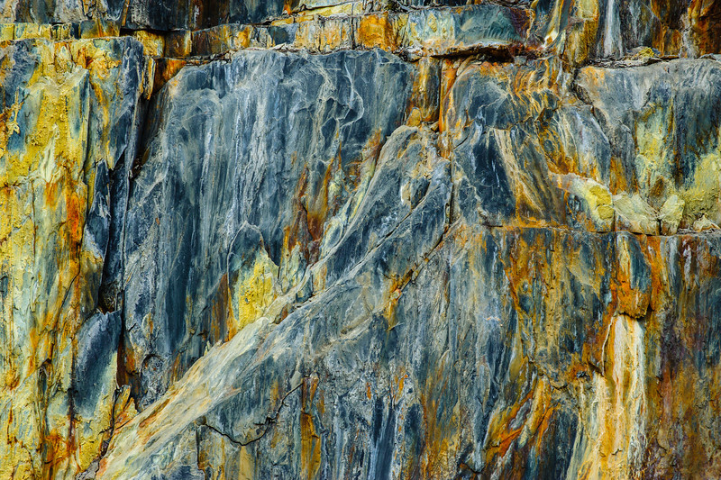 """Rock Textures in Nature Yosemite #8"" Yosemite National Park, Merced River, Some of my favorite things to capture are those textures that occur naturally in nature. This looks like it could be a painting with the blues and oranges. It makes you want to reach out and touch the<br /> cracks and feel the rock! Yosemite holds beauty in in so many places beyond the waterfalls and grand vistas and large granite formations! Printed on canvas as a 30"" x 40"", this will look fantastic!"