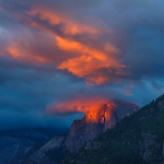 """""""Reflections of Light at Sunset"""" Yosemite National Park Sunset on Half Dome"""