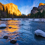 """Sunset on Valley View - El Capitan in Winter""  This image is available as a canvas giclée gallery wrap in sizes 16""x24"", 20""x30"", 28""x42"" and 38""x58"""