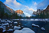 California, Yosemite National Park, El Capitan, California, Winter, Snow, Sunset Landscape 加利福尼亚  优胜美地国家公园 冬 风景