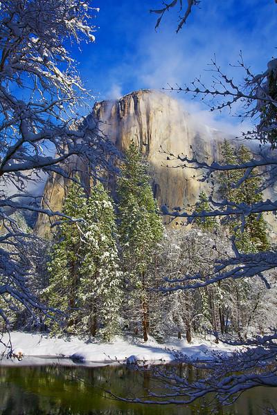 California, Yosemite National Park, El Capitan, California, Winter, Snow Landscape 加利福尼亚  优胜美地国家公园 冬 风景