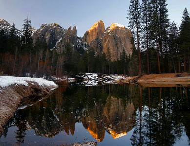 Cathedral Rock and Merced River, Yosemite, 6:45 AM, 2-14-2010