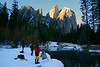 Feb 17, 2008, Cathedral Rock, Yosemite National Park. From here you get three inspiring mountain views including Three Brothers Peaks (behind the camera), El Capitan to the right, and Cathedral Rock shown here. Half Dome is to the photographer's backs. The air that morning was perfectly still, cool, crisp and refreshingly rich with oxygen.