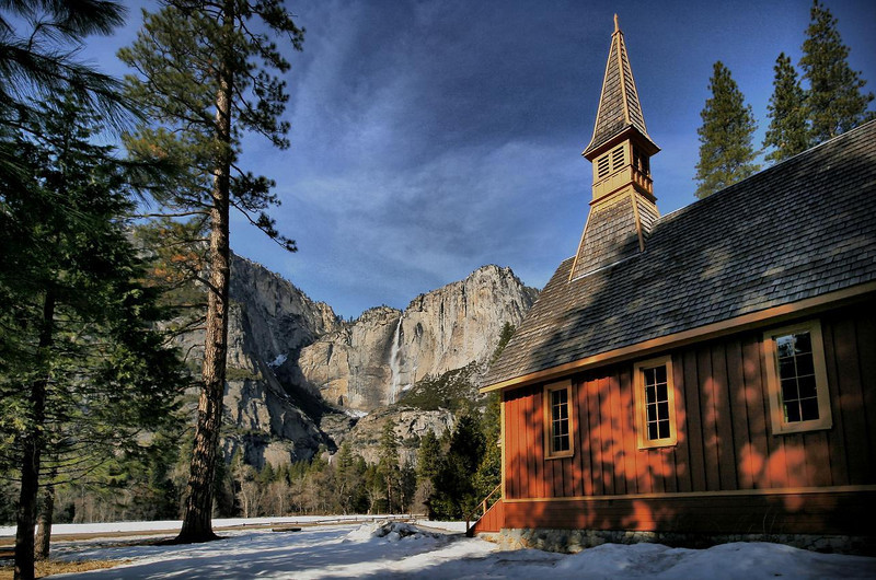 Yosemite Chapel from the meadow behind. February 13, 2010.