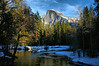 This is the view from the previous photo's vantage point if you turn around. I captured this image in February 2008, but decided to add it to this gallery to show this view of Half Dome taken from the bridge over the Merced River when there was more snow on the ground. You need to get here well before dusk to get a prime viewing spot, even in winter, as photographers will be jockeying into position for one of America's most inspiring scenes.