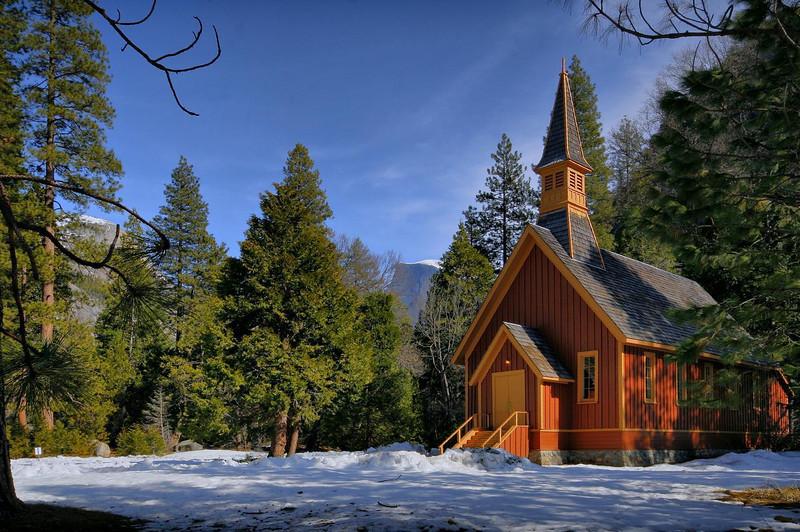 Yosemite Chapel from roadside vantage point.
