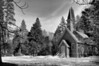 Wide angle monochrome of Yosemite Chapel, Feb , 2010