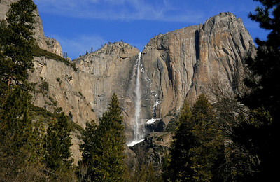 Upper Yosemite Falls, Feb 14, 2010, early PM, from the parking lot of Yosemite Lodge.