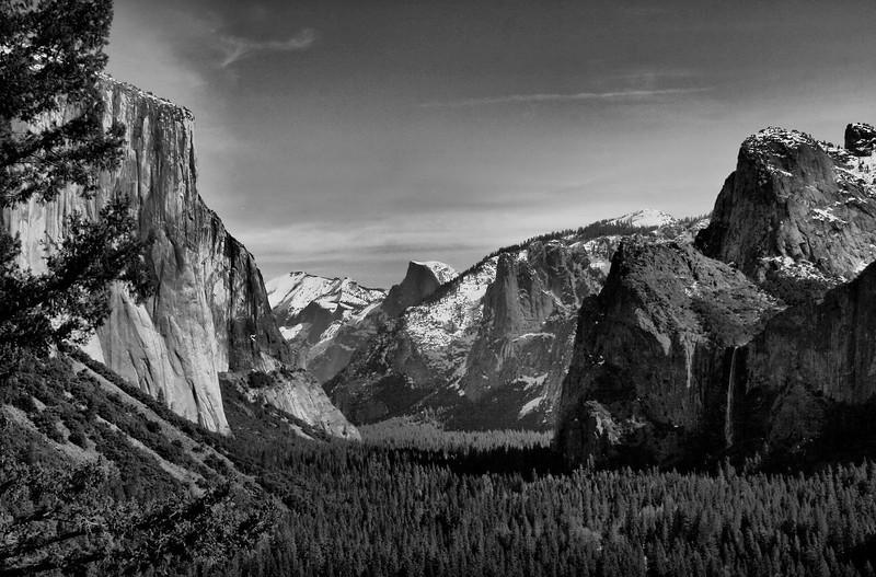 Yosemite Valley vista from entrance road, monochrome. Feb 13, 2010