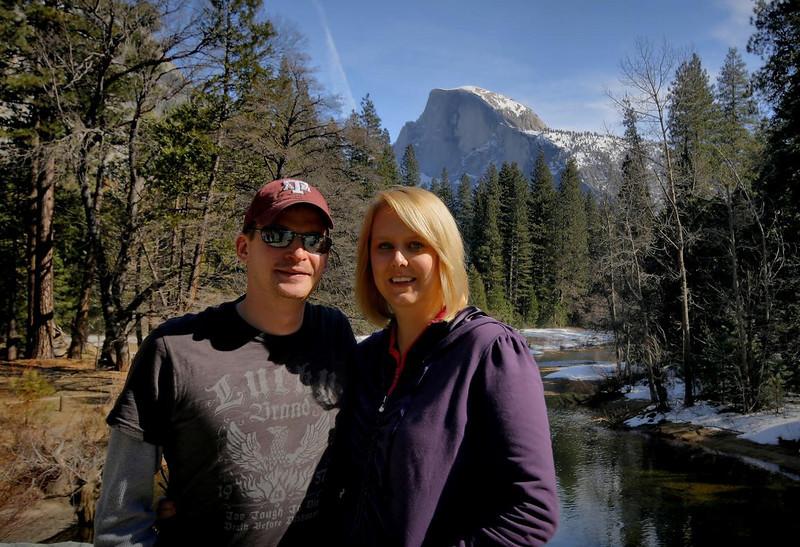 Jennifer and Greg in front of Half Dome, Yosemite, Feb 14, 2010