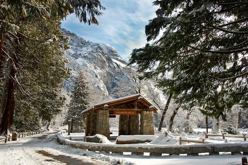 Yosemite Falls Bus Stop in Winter 0054