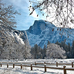 Snow on Half Dome Yosemite