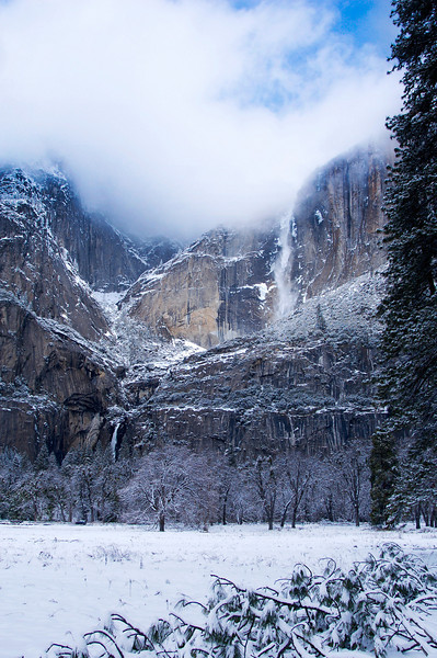 """Light on the Falls""  Light on Upper and Lower Yosemite Falls.  Winter in Yosemite"