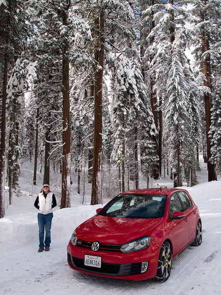Liz and the GTI check out the snow.
