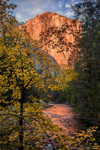 El Capitan and the Merced surrounded by Autumn Maples