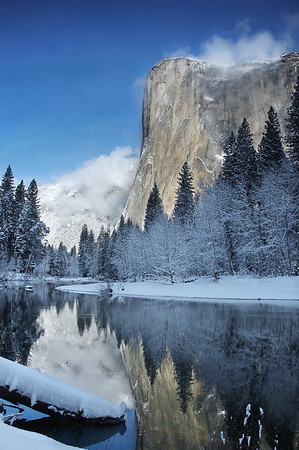 El Capitan reflects in the Merced River - Yosemite National Park, California
