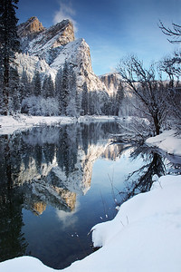 The Three Brothers Reflect in Merced River - Yosemiter NP