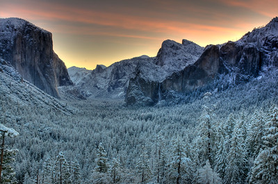 Sunrise Yosemite valley after an evening snow storm. NOTE:  You can add a beautiful custom frame to this image at www.americanframe.com.  Just type jay seeley into the search box and go from there.