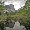 Hikers rest<br /> Rain threatens hikers at Mirror Lake