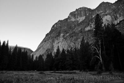 Scouting locations in Yosemite, the idea being to gain familiarity with the park, times of day to get certain shots, etc.  The light was very blue on the shady side of this rock, so I converted to B&W.