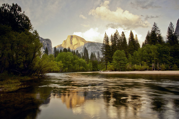 Last Light on Half Dome,  Spring Run-Off   Merced River