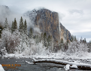 Snowy El Capitan & Merced River