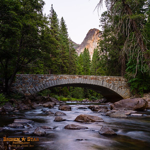 Pohono Bridge over the Merced River, Yosemite National Park.  View from downstream.