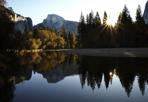 First Light on Half Dome and The Merced River