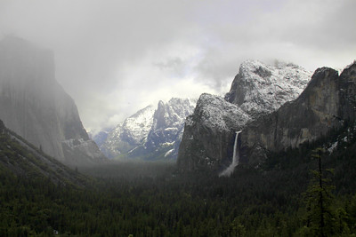 tunnel view after it snowed night before. Spring storm
