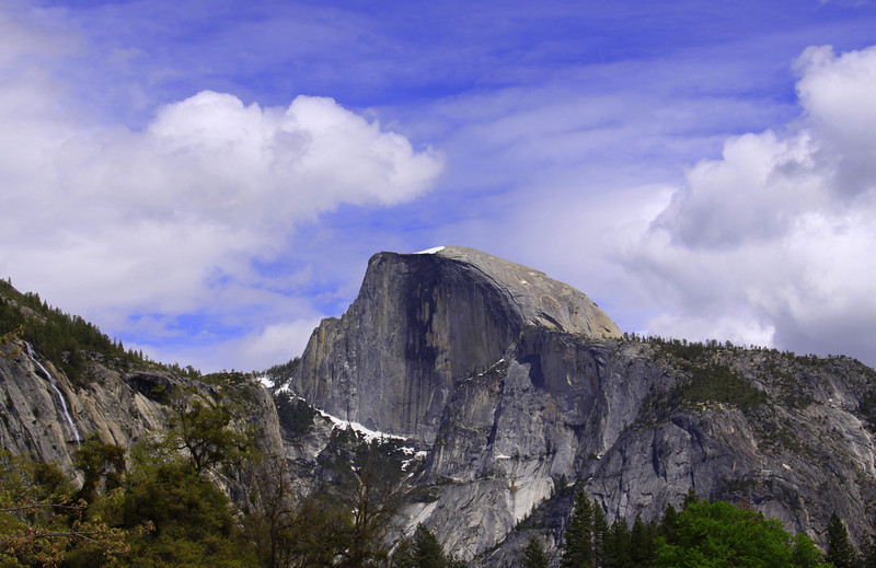 Half dome from cooks meadow on rare sunny day