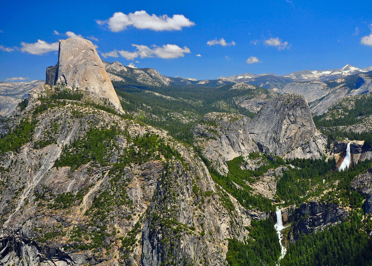 From the Panorama Trail: Half Dome, Mt. Broderick, Liberty Cap, Vernal Falls, Nevada Falls, Little Yosemite Valley