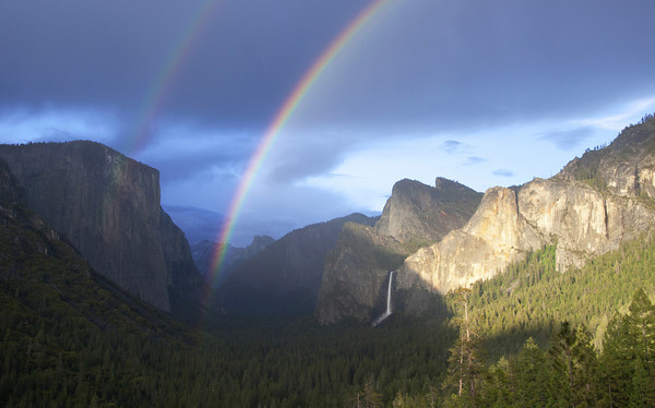 Clearing Storm Tunnel View Double Rainbow