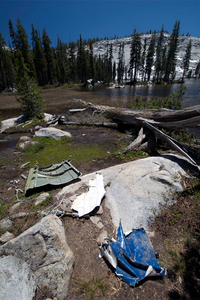Wreckage, Lodestar Lightning, Lower Merced Pass Lake, Yosemite National Park.