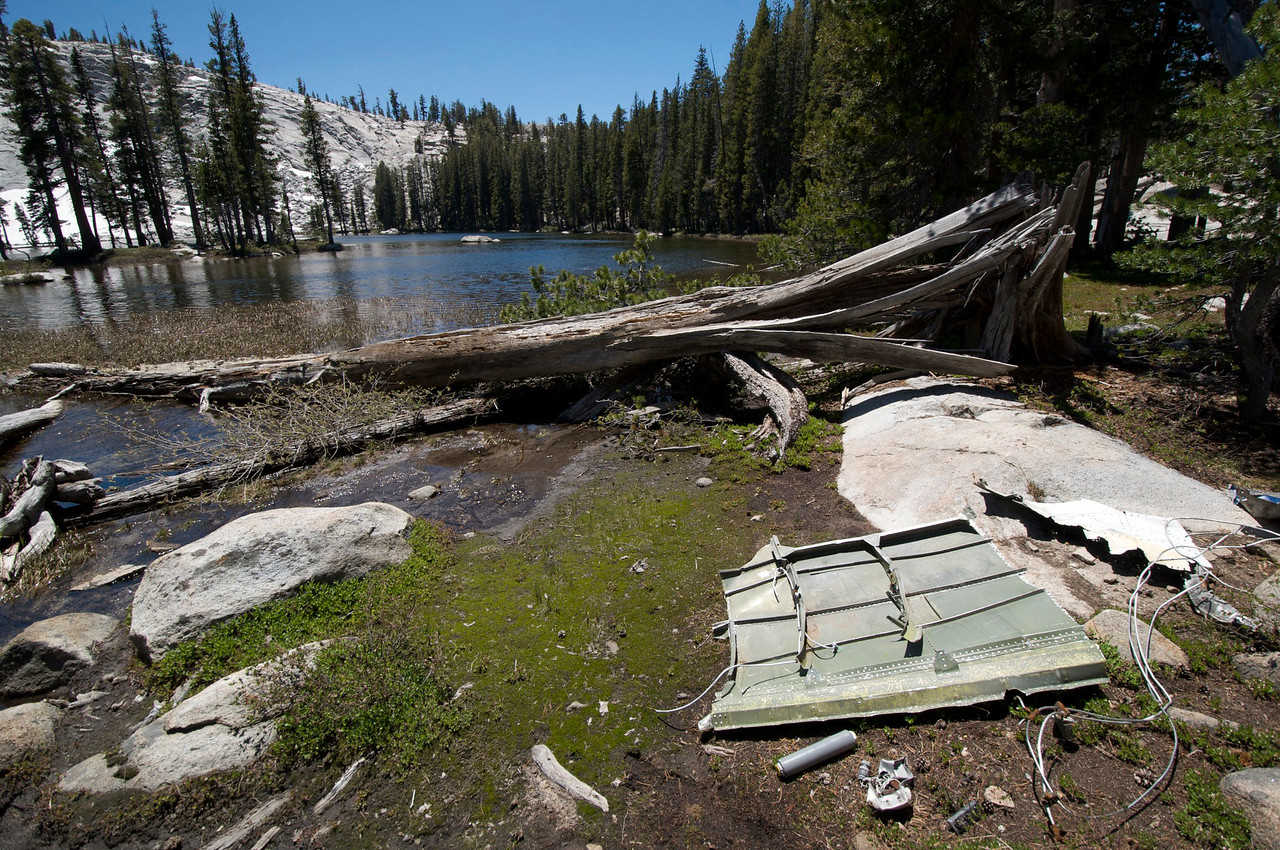 Fuselage and fuel filter,  Lodestar Lightning, Lower Merced Pass Lake, Yosemite National Park.