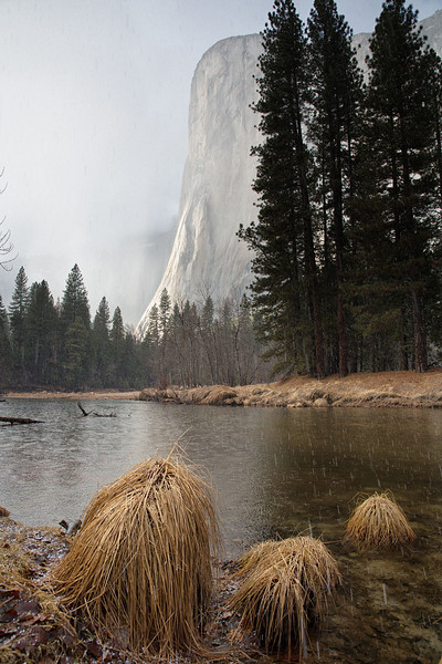El Cap during a hail storm - Yosemite National Park