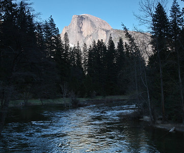 Half Dome & Merced River from Sentinel Bridge at sunset